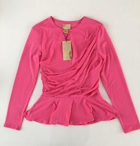 H-amp-M-Peplum-Schoesschen-Top-Shirt-Bluse-Pullover-Pink-Rosa-Raffung-Gr-XS-32-34