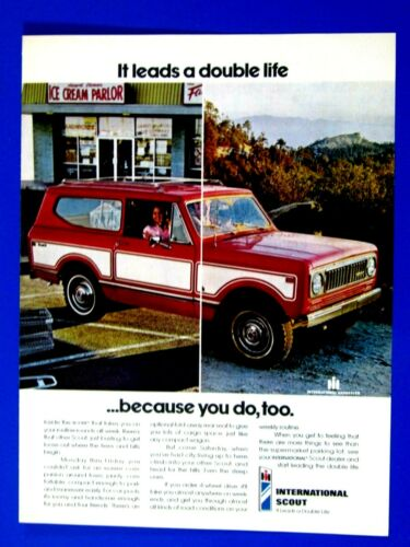 """1974 International Scout It Leads a Double Life Original Print Ad 8.5 x 11/"""""""