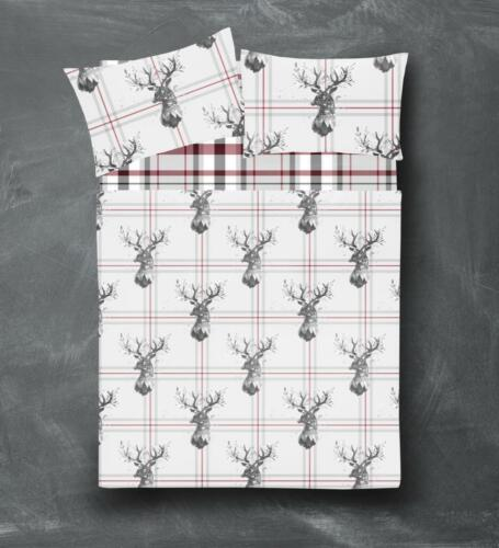Check Floral /& Stag Pattern Flannel 100/% Brushed Cotton Fitted /& Flat Sheet Sets