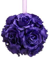 "6"" Artificial Rose Kissing Ball Purple (pack of 6) Silk Flower Decor wedding NEW"