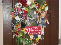 Farmhouse Wreath, Door Wreath, Pig Doll Wreath, Animal Wreath, Sunflowers, Barn