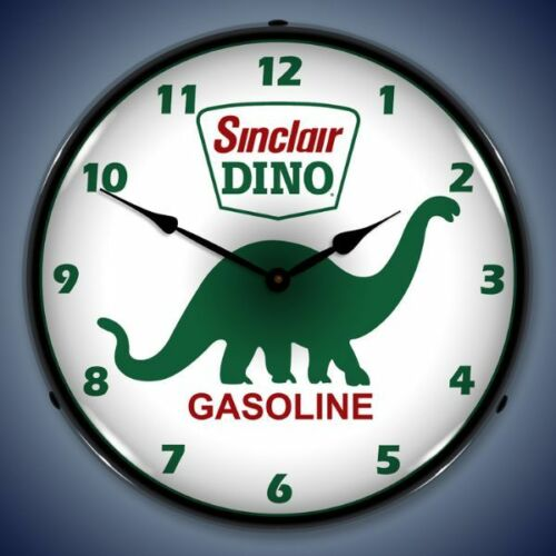 SINCLAIR DINO GASOLINE STATION BACKLIT LED LIGHTED WALL CLOCK RETRO USA MADE NEW