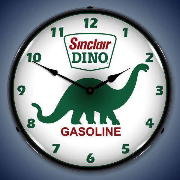 SINCLAIR DINO GASOLINE STATION BACKLIT LED LIGHTED WALL CLOCK RETRO USA  MADE NEW