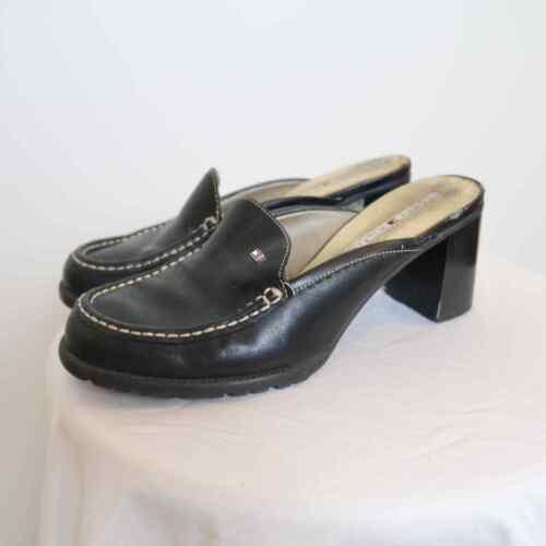 Vintage 90s Tommy Hilfiger black leather mules Si… - image 1