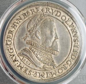 1603-Alsace-Emperor-Rudolph-II-Silver-Thaler-Coin-Ensisheim-PCGS-AU-55