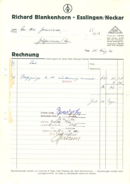 Rechnung, Fa. Richard Blankenhorn, Esslingen / Neckar, 11.3.1940