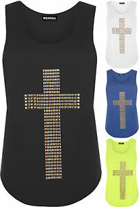 New-Womens-Cross-Stud-Racer-Sleeveless-Ladies-Stretch-Muscle-Back-Vest-Top-8-14