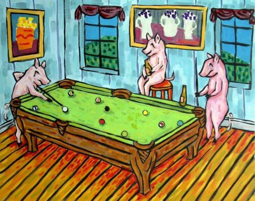 pig art billiards playing pool  13x19  art print artwork gift 13x19