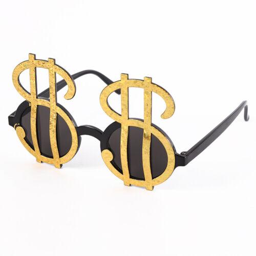 Black and Gold Dollar Sign Sunglasses Glasses For Women Men Creative