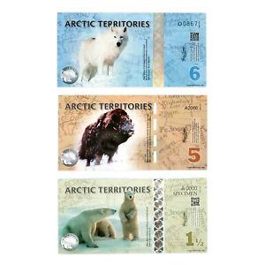 1 Set Mit 3 Verschiedene Arctic Terr. Polar Dollars Au-unc. 1 1/2, 5, 6 Angenehm Im Nachgeschmack
