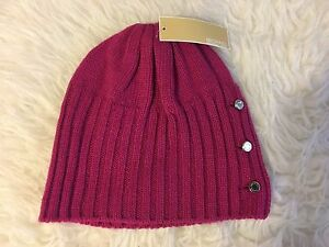 b21a256b2 Details about NWT MICHAEL KORS JERSEY KNIT SHALLOW BEANIE HAT WITH LOGO  BUTTONS~ONE SIZE~$48!
