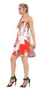 Ladies Strapless Sheering BoobTube Shirring Floral Bandeau Summer Mini Dress Top