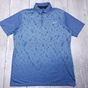 Nike-Golf-Standard-Fit-Polo-Shirt-Mens-Large-Blue-Dri-Fit-Short-Sleeve-P12