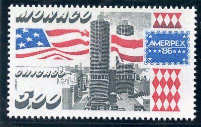 Stamp Vue De Chicago Et Drapeaux Packing Of Nominated Brand Timbre De Monaco N° 1537 ** Ameripex 86