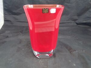 """"""" Block """" Cristal Rouge Vase Art Moderne San Carlos Crystal Collection Salinas Avec Le Meilleur Service"""