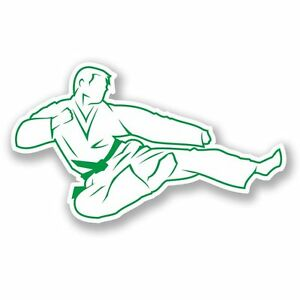 La imagen se está cargando 2-x-cinturon-verde-de-Karate-Pegatina-de- e8e99c1d9f93