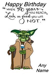 Image Is Loading Handmade Personalised Star Wars Yoda Birthday Card Father