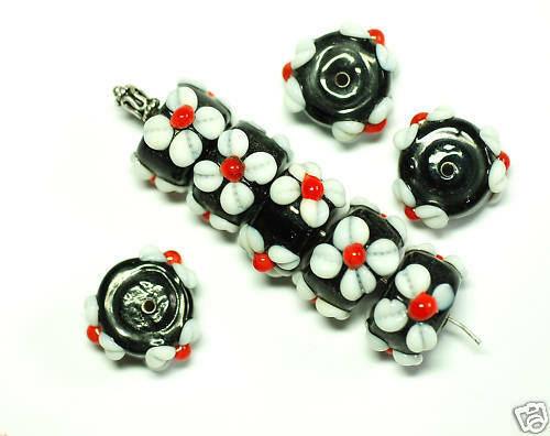Perles De Verre Lampwork Fleur 12 x 16 mm BACATUS 3x