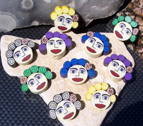 6 grandes agradables perlas womenface Fimo 25 x 20 x 5 mm fädelloch aprox 1,2 mm