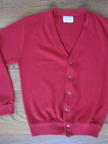 Vtg 60s LORD JEFF Mod Eames Era Red Knit Cardigan SWEATER USA Atomic Washable M