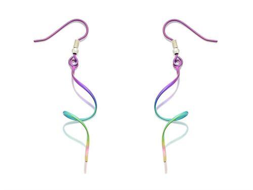 Ti2 Titanium Rainbow Espiral Gancho Para Mujer Joyas Pendientes de alambre 57mm Gota