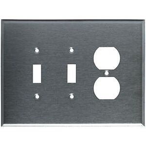 Wall Switch Plate Cover Oversized Stainless Steel 3 Gang 2 Toggle 1