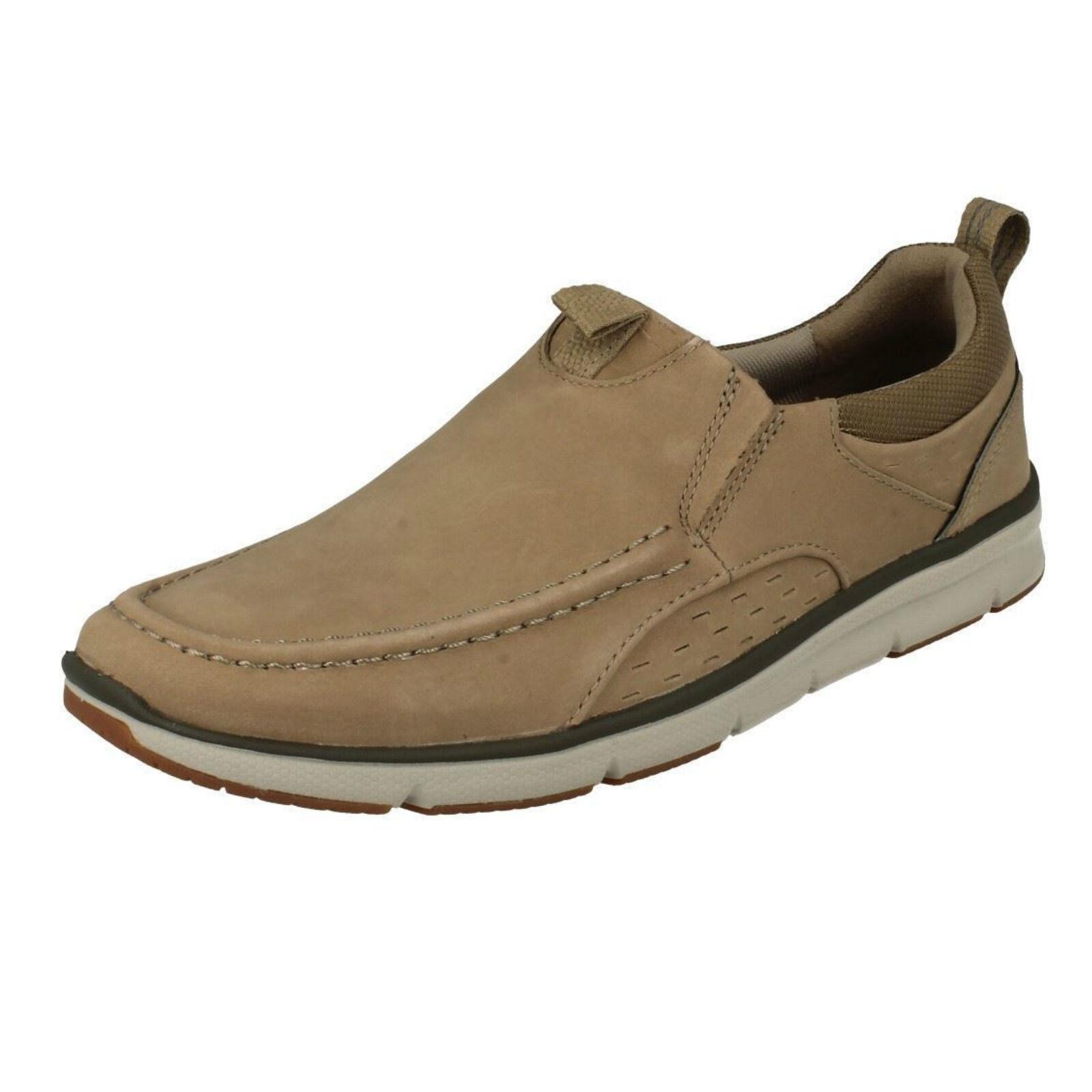 Hombre CLARKS ORSON Fila Cordones Arena Nubuck Zapatos Sin Cordones Fila Casuales b549e5