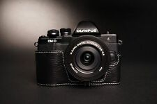 Genuine real Leather Half Camera Case Bag Cover for Olympus OM-D EM10 II Black