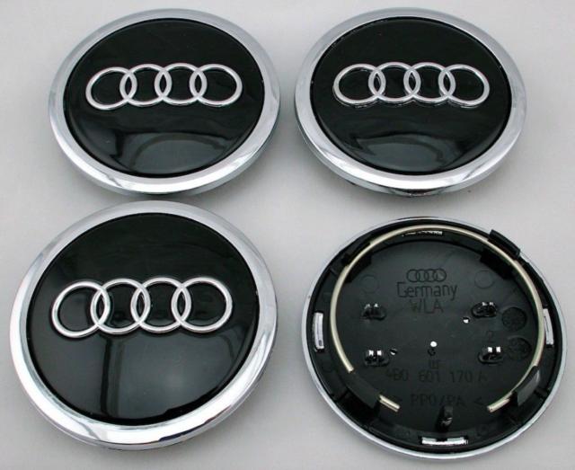 Schwarz 4 x 69mm Audi Alufelge Nabenkappen Nabendeckel Satz 4B0601170A