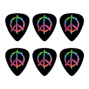 Tie-Dye-Peace-Sign-Novelty-Guitar-Picks-Medium-Gauge-Set-of-6