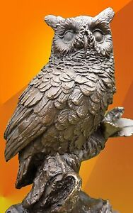 BRONZE-OWL-ON-BRANCH-STATUE-FIGURINE-FIGURE-BIRD-HOT-CAST-SCULPTURE