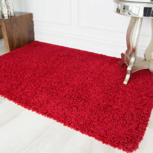 Wine Red Shaggy Rugs Small Large Fluffy
