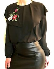 ZARA Woman BNWT Black Double Frill Embroidered Top Blouse Size XS Ref.3666/187