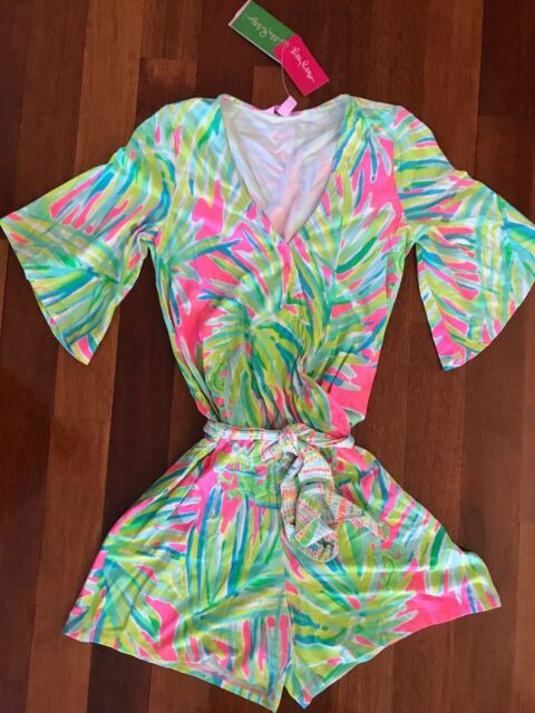 0572dbd03bf5 NWT Lilly Pulitzer Madilyn Romper Tiki Pink Royal Lime Engineered Romper XXS