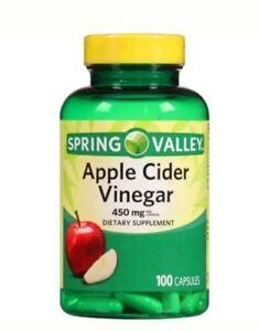 Spring Valley Apple Cider Vinegar Capsules, 450 Mg, 100 Ct EXP 11/2022
