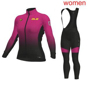 2020 Women Cycling Long Sleeve Jersey Bib Pant Suit Bike Outfits Bicycle Uniform