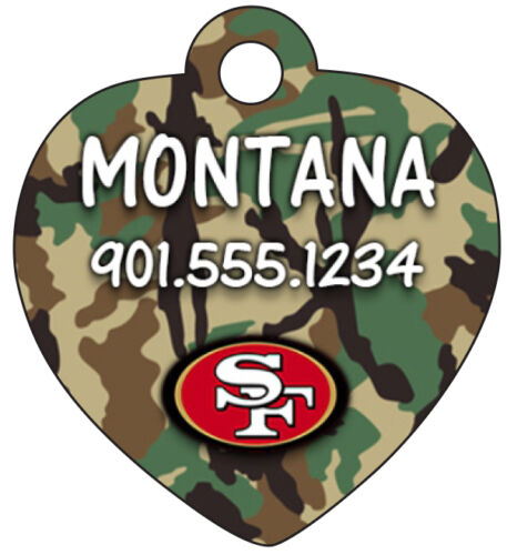 San Francisco 49ers Camo Pet Id Dog /& Cat Tag Personalized w// Name /& Number