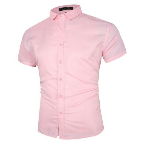 Men/'s Short Sleeve Business Shirt Button Front Plain T-Shirts Blouses Slim Fit B