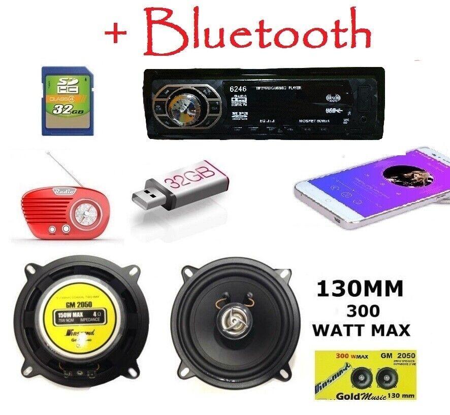autoradio: STEREO AUTO BLUETOOTH AUTORADIO FM MP3 USB SD AUX + Casse 300w