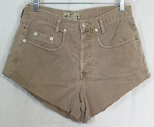 Vintage-Guess-Size-1-29-5-034-W-42-034-Hip-High-Waist-Taupe-Denim-Cut-Off-Shorts