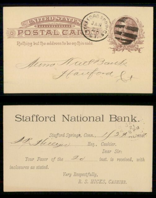 Mayfairstamps US 1887 Stafford Springs CT National Bank to Hartford Stationery C