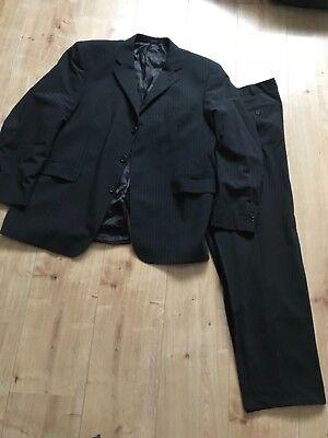 Grau Schwarz Gestreifter Herren Anzug Gr.l /xl Von Werther International Die Neueste Mode