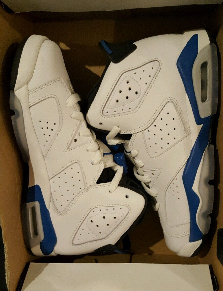 buy popular 16bdf 118bb ... Nike Air Jordan 6 VI Retro BG 384665 107 White White White Sport bluee- Black ...