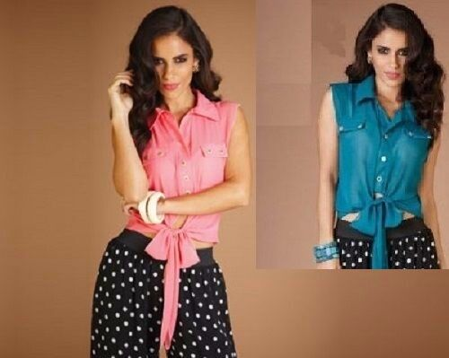 Ladies Gold Mock Button Chiffon Teal or Coral Short Sleeve Tie Front Blouse Top