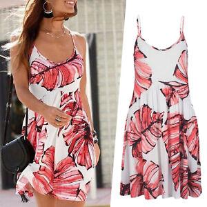 schoenes-mini-Kleid-Muster-koralle-weiss-Gr-38-M-Strandkleid-Sommerkleid-Jersey