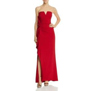 Aidan-Mattox-Womens-Strapless-Crepe-Long-Evening-Dress-Gown-BHFO-4260