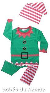 c2535d1b5dc4a Pyjama+bonnet Bébé costume grenouillère Lutin du Père Noël de 6 à 24 ...