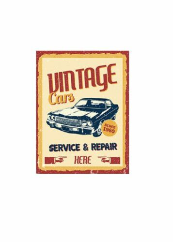 8x6 Rustic Metal Sign Vintage Garage with rounded corners with fixing holes