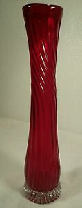 """Red Hand Blown Ribbed Swirl 13 & 1/4"""" Art Glass Vase With Clear Base"""