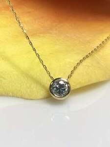 1-CT-Round-Cut-Bezel-Set-Diamond-Solitaire-Pendant-Necklace-14k-Yellow-Gold-GP